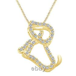 0.1 Cttw Round Shape Diamond Dog Pendant Necklace 10K Solid Yellow Gold