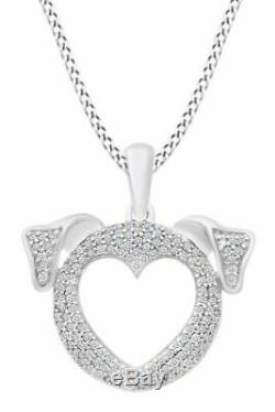 0.25 Ct Diamond Open Heart Dog Face Pendant 10k Solid Gold Fn Valentine Gifts