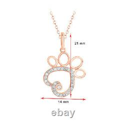 1/10 Ct Diamond Heart Dog Paw Pendant 18 Chain Necklace Solid 10k Rose Gold