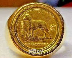 1/10 oz 2006 YEAR OF THE DOG IN 22KT SOLID GOLD MENS COIN RING 35.1 GRAMS