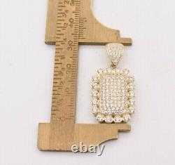 1.25 Puffed Dog Tag CZ Cubic Zircon Pendant Real Solid 10K ALL Yellow Gold