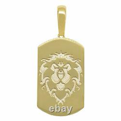 1 3/4 Dog Tag Lion Head Pendant Real Solid 10K Yellow Gold