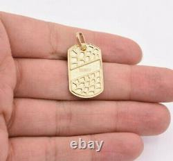 1 3/8 Dog Tag Nugget Style Diamond Cut Charm Pendant Real SOLID 10K Yellow Gold