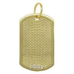 1.5 Military Dog Tag Bullet Pendant Real Solid 10K Yellow Gold
