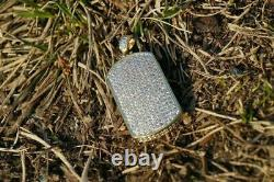 1.90Ct Round Cut VVS1/D Diamond Dog Tag Charm Pendant Solid 14k Yellow Gold Over