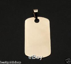 1 MENS MILITARY DOG TAG DISC CHARM PENDANT REAL SOLID 14K YELLOW GOLD 2.8gr