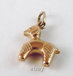 100% Genuine 375 9k Solid Yellow Gold Hollow Poodle Dog Charm or Pendant