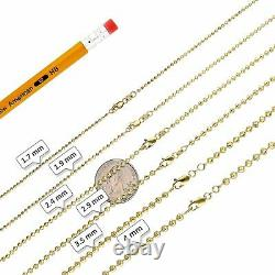 10K Solid Yellow Gold 1.7mm-4mm Moon Cut Ball Dog Tag Chain Necklace 16-30