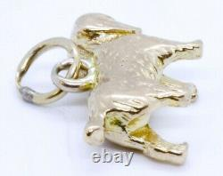 10K Solid Yellow Gold 3D Cocker Spaniel Dog Pet Dangle Traditional Charm