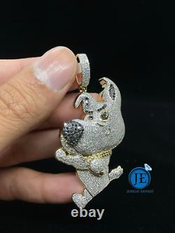 10K Solid Yellow Gold and Diamond 2.50 CT Dog Character Pendant Charm with Chain