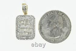 10K Solid Yellow Gold and SI 0.75 CT Dog Tag Pendant Charm with 10K Rope Chain