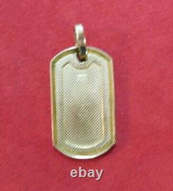 10k Solid Yellow Gold Dog Tag Pendant for a Necklace Ready for Monogram5.7 Gr