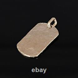 10k Yellow Gold Solid Hammered Finish Dog Tag Charm Pendant 1.8 13 grams