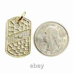 10k yellow Gold solid men's nugget dog tag Pendant charm fine gift jewelry 3.1g