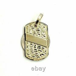 10k yellow Gold solid men's nugget dog tag Pendant charm fine gift jewelry 4.3g