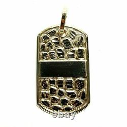 10k yellow Gold solid men's nugget dog tag Pendant charm fine gift jewelry 9g