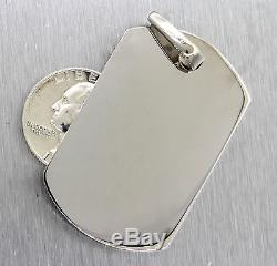 14K 585 White Solid Gold Dog Tag Pendant Army Military