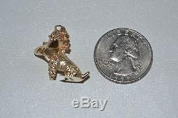 14K SOLID YELLOW GOLD 3D POODLE DOG WITH SHOE IN MOUTH CHARM PENDANT