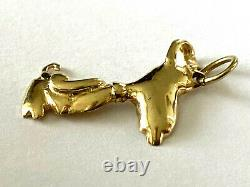 14K SP Solid Yellow Gold Snoopy Dog Ladies Or Child Pendant Charm