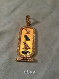 14K Solid Gold Egyptian Dog tag Pendant With Diamonds 35 Grams
