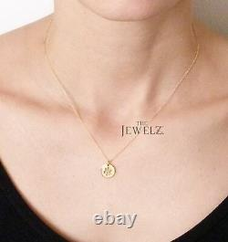 14K Solid Plain Gold Dog's Paw Foot Print (Love My Pet) Necklace Fine Jewelry