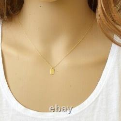 14K Solid White Gold Mini Small Dog Tag Dainty Necklace Minimalist 16-18