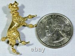 14K Solid Yellow Gold Detailed & Textured French Show Poodle Dog Brooch Pin