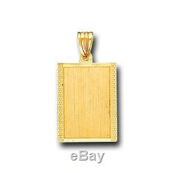 14K Solid Yellow Gold Dog Tag ID Charm Pendant