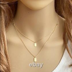 14K Solid Yellow Gold Double Duo Mini Dog Tag Layer Necklace 17 adjust