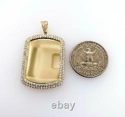 14K Solid Yellow Gold ID Dog Tag Picture Frame Created Diamond Pendant Charm