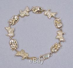 14K Solid Yellow Gold Large Cat & Dog Bracelet No. 3673 Length 7.5 grams 12.5