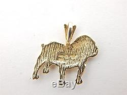 14K Solid Yellow Gold Michael Anthony Nice Bull Dog Charm Pendant 1.2 Grams