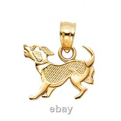 14K Solid Yellow Gold Puppy Pendant Dog Polished Necklace Charm Women Men