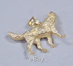 14K Solid Yellow Gold Retriever Dog 3-D Pendant 12 grams
