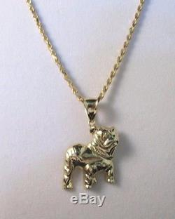 14K Solid Yellow Gold Rope Chain Necklace with Bull Dog Pendant-24. L #131