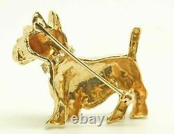 14K Solid Yellow Gold Scottish Terrier Dog Brooch Pin 9.8 Grams