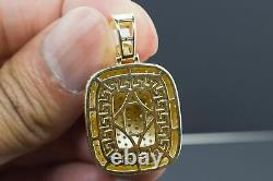 14K Solid Yellow Gold and Diamond 3.00 CT Dog Tag Pendant Charm with Chain