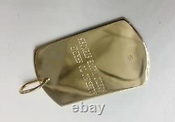 14K Solid yellow Gold Engraveable ID DOG TAG Charm Pendant