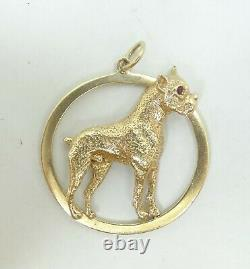 14K Yellow Gold Ruby Eyed Dog Pendant Solid 37mm 14.4 Grams M14