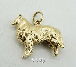 14K Yellow Gold Solid Heavy Border Collie Charm Pendant 24x20mm 12.9g S2841