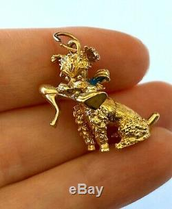 14KT Yellow Solid Gold Adorable Detailed Dog With Ladies Shoe Charm PENDANT