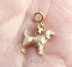 14k 14kt Solid Yellow Gold Dog Puppy Foxhound Charm Pendant 4.3g