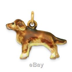 14k 14kt Yellow Solid Gold Enameled Small Solid Golden Retriever Dog Charm