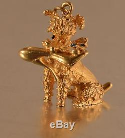 14k GOLD 3D VINTAGE POODLE DOG with SHOE IN MOUTH CHARM PENDANT A44