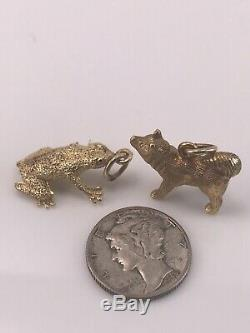 14k Gold Husky Dog and Frog Charm / Pendant, weigh 10.1 grams solid Gold NR
