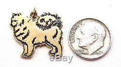 14k Solid Gold Chow Chow Charm Dog Pendant Animal Pets Cute Free Shipping