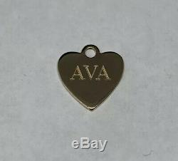 14k Solid Gold Heart Shape Dog Tag ID Pendant Free Engraving White Yellow Rose