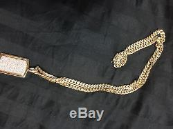 14k Solid Gold Miami Cuban Link Chain With Dimond Dog Tag Pendant