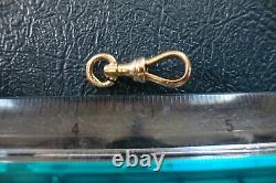 14k Solid Yellow Gold Antique Pocket Watch Chain Dog Clip 1.1 Grams 6/8 Inch L
