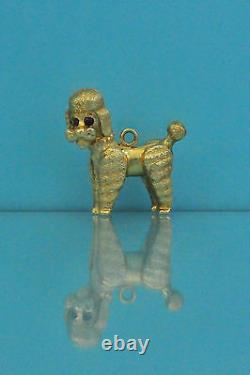 14k Solid Yellow Gold Poodle dog with Ruby Eyes Charm / Pendant 6.5g, Excellent